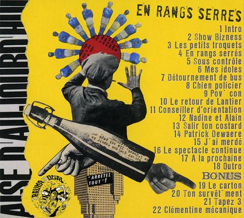 Album de Brigitte Bop en rangs serrés (verso pochette)